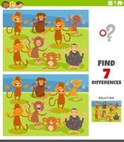 skillnader pedagogisk uppgift med tecknade apor vektor
