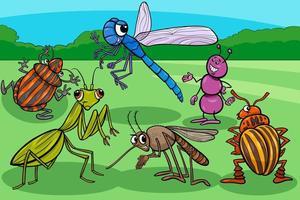 Insekten und Käfer lustige Zeichentrickfigurengruppe vektor