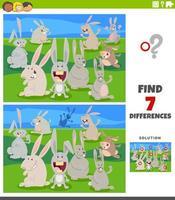 Unterschiede Lernspiel mit Cartoon-Kaninchen vektor