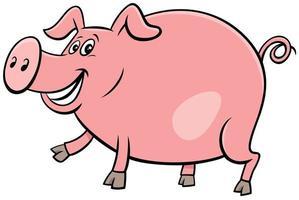 glad gris gård djur karaktär tecknad illustration vektor