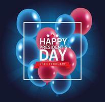 glad presidents dag affisch med ballonger vektor