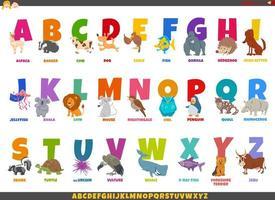 tecknad alfabet med roliga djur karaktärer