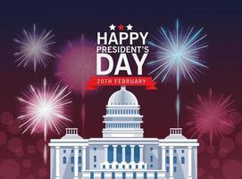 glad presidents dag affisch med capitol byggnad vektor
