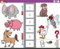 Bildungsaufgabe mit großen und kleinen Tieren für Kinder vektor