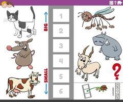 pedagogisk uppgift med stora och små djur för barn vektor