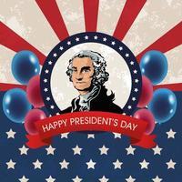 glad presidents dag affisch med president vektor