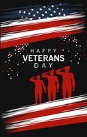 Happy Veterans Day Schriftzug mit Militäroffizieren vektor