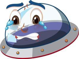 UFO mit weinendem Gesichtsausdruck auf weißem Hintergrund