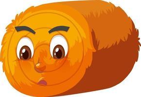 runde Heuballen-Zeichentrickfigur mit Gesichtsausdruck