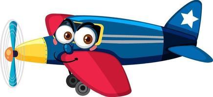 Flugzeug mit Gesichtsausdruck-Zeichentrickfigur auf weißem Hintergrund