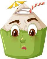 söt kokosnöt seriefigur med förvirrat ansiktsuttryck på vit bakgrund