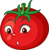 Tomatenkarikaturfigur mit Gesichtsausdruck auf weißem Hintergrund vektor