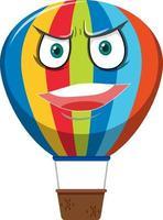 varmluftsballongtecknad karaktär med arg ansiktsuttryck på vit bakgrund vektor