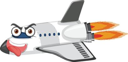 Flugzeugkarikaturfigur mit verrücktem Gesichtsausdruck auf weißem Hintergrund