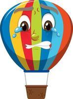varmluftsballongtecknad karaktär med gråtande ansiktsuttryck på vit bakgrund
