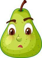 grönt päron seriefigur med förvirrat ansiktsuttryck på vit bakgrund