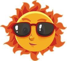Sonnenkarikaturfigur, die Sonnenbrille auf weißem Hintergrund trägt vektor