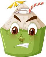 niedliche Kokosnuss-Zeichentrickfigur mit wütendem Gesichtsausdruck auf weißem Hintergrund vektor