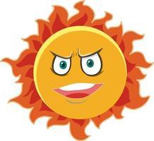 Sonnenkarikaturfigur mit wütendem Gesichtsausdruck auf weißem Hintergrund vektor