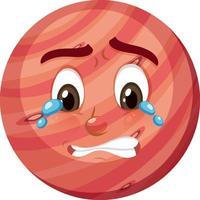 Mars-Zeichentrickfigur mit weinendem Gesichtsausdruck auf weißem Hintergrund vektor