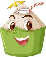 niedliche Kokosnusskarikaturfigur mit glücklichem Gesichtsausdruck auf weißem Hintergrund vektor