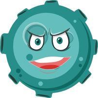 Asteroiden-Zeichentrickfigur mit wütendem Gesichtsausdruck auf weißem Hintergrund vektor