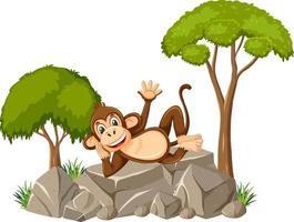 isolierte Szene mit niedlichem Affen, der auf Stein legt vektor