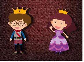 kleine Prinz und Prinzessin Zeichentrickfigur auf rotem Hintergrund vektor