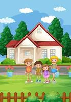 Hausszene im Freien mit vielen Kindern vektor
