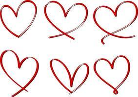 Satz von Herzhand gezeichnet isoliert vektor