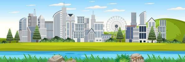 utomhuslandskap med stadsutsikt från parken vektor