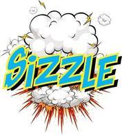 ord sizzle på komisk moln explosion bakgrund vektor