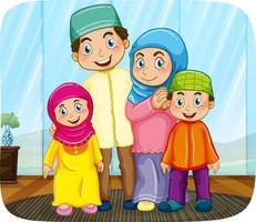söt muslimsk familj seriefigur vektor