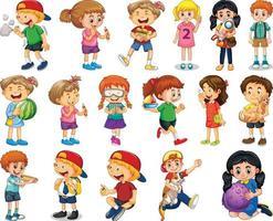 barn gör olika aktiviteter seriefigurer på vit bakgrund