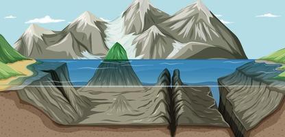 eine Landschaft unter und über Wasser vektor