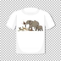 vilda djur grupp design på t-shirt isolerad
