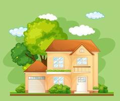 framsidan av ett hus med många träd på grön bakgrund vektor