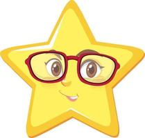 Sternkarikaturfigur, die Brille auf weißem Hintergrund trägt
