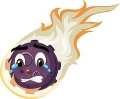 Flammenmeteor-Zeichentrickfigur mit weinendem Gesichtsausdruck auf weißem Hintergrund vektor