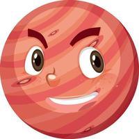 Mars-Zeichentrickfigur mit glücklichem Gesichtsausdruck auf weißem Hintergrund vektor