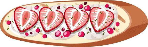 Draufsicht eines Brotes mit Erdbeere lokalisiert vektor