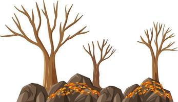 isolierter Herbstbaum auf weißem Hintergrund