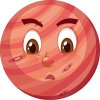 Mars-Zeichentrickfigur mit ungezogenem Gesichtsausdruck auf weißem Hintergrund vektor