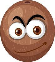 Kokosnuss-Zeichentrickfigur mit glücklichem Gesichtsausdruck auf weißem Hintergrund