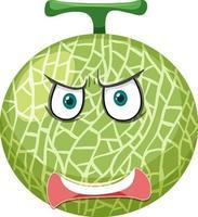 Melonen-Zeichentrickfigur mit wütendem Gesichtsausdruck auf weißem Hintergrund vektor