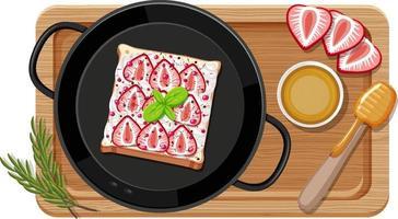frukost i pannan med skärbräda vektor