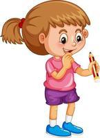 en tjej som håller en penna seriefigur isolerad på vit bakgrund vektor