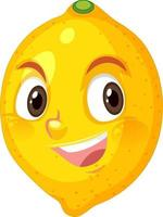 Zitronen-Cartoon-Figur mit glücklichem Gesichtsausdruck auf weißem Hintergrund vektor