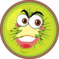 Kiwi-Zeichentrickfigur mit glücklichem Gesichtsausdruck auf weißem Hintergrund