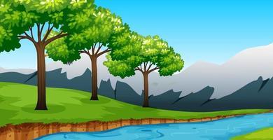 Waldhintergrundszene mit vielen Baum und Fluss vektor